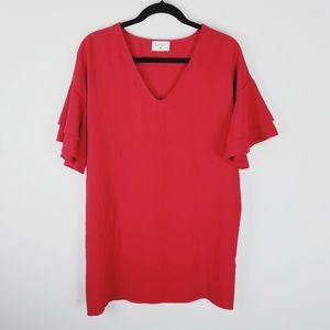 Nordstrom Everly red ruffle sleeve mini dress smal